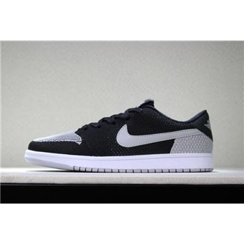 New Air Jordan 1 Low Flyknit Shadow Black/Wolf Grey-White Men's Basketball Shoes