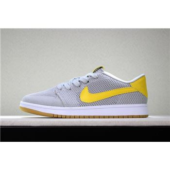 New Air Jordan 1 Low Flyknit Wolf Grey/Yellow-Gum Men's Basketball Shoes