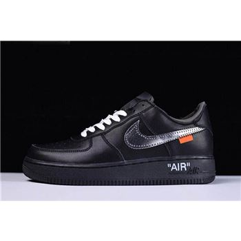 2018 Off-White x MoMA x Nike Air Force 1 Low Black/Metallic Silver Free Shipping