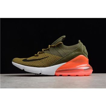 Mens and WMNS Nike Air Max 270 Flyknit Army Green/Dark Green/Black/Red