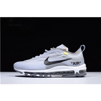 2018 Off-White x Nike Air Max 97 OG Light Grey/Black-White Men's Shoes Free Shipping