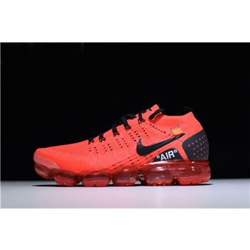 New Off-White x Nike Air Vapormax Flyknit 2.0 Gym Red Men's Size