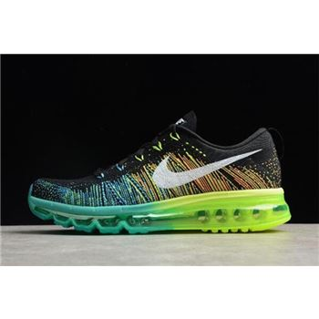 Men's Nike Flyknit Air Max Black/Turbo Green-Volt Running Shoes 620469-001 For Sale