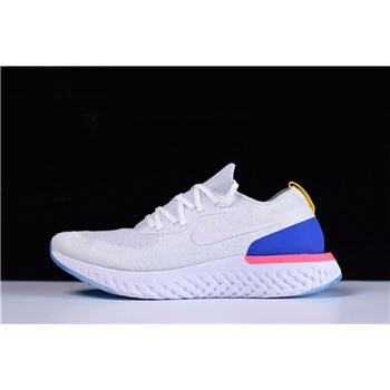 Men's and Women's Nike Epic React Flyknit White/Racer Blue/Pink Blast AQ0067-101
