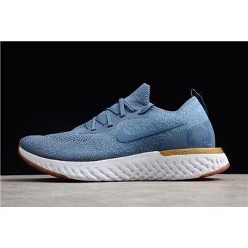 Nike Epic React Flyknit Blue/Metallic Gold-White AQ0067-995 Free Shipping