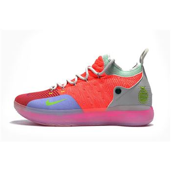Men's Nike KD 11 Bright Crimson/Orange/Wolf Grey/Chlorine Blue/Pink Free Shipping