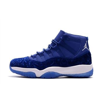 2018 Air Jordan 11 Blue Velvet Royal Blue-White Men's and Women's Size