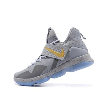 Nike LeBron 14 Opening Night Wolf Grey/Gold-Green Free Shipping