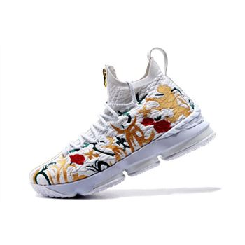 KITH x Nike LeBron 15 Floral White/Floral-Gold Men's Basketball Shoes