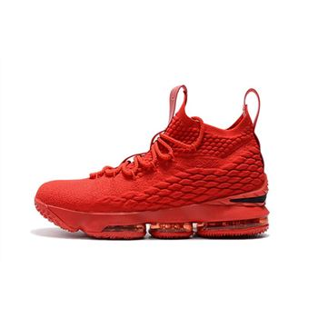 Men's Nike LeBron 15 Ohio State PE all-Red Basketball Shoes
