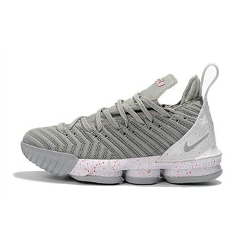 Nike LeBron 16 Wolf Grey/White-Red Men's Basketball Shoes Free Shipping