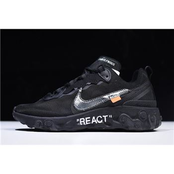 2018 Off-White x Nike React Element 87 Black AQ0068-001 For Sale