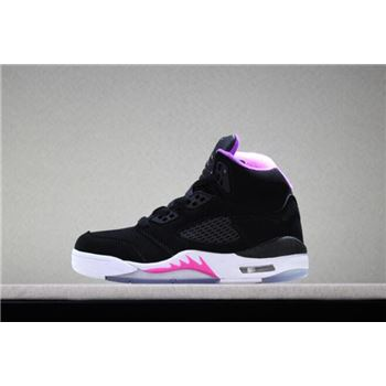 Kid's Air Jordan 5 Retro Black/Deadly Pink-White For Sale