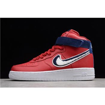 Nike Air Force 1 High '07 LV8 Chenille Swoosh Gym Red/White-Blue Void 806403-603